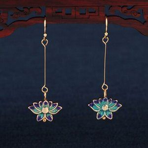14 Gold Cloisonne Lotus Flowers Earrings